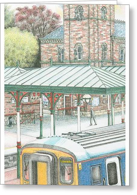 Vertical Drawings Greeting Cards - Ulverston Railway Station Clock Greeting Card by Sandra Moore