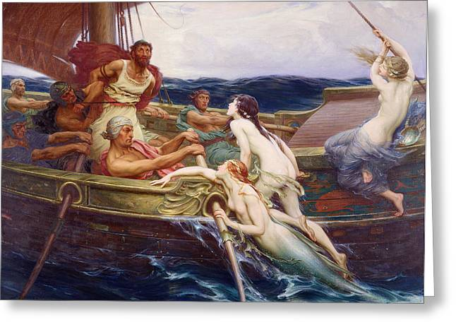 Mythology Greeting Cards - Ulysses and the Sirens Greeting Card by Herbert James Draper