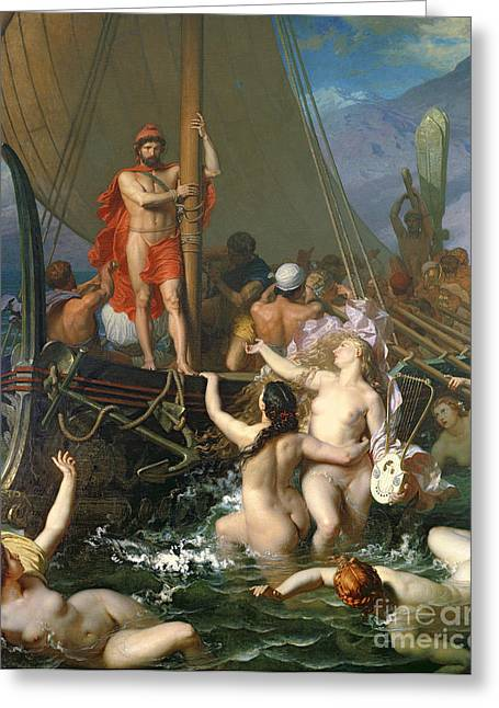 Femme Greeting Cards - Ulysses and the Sirens Greeting Card by Leon Auguste Adolphe Belly