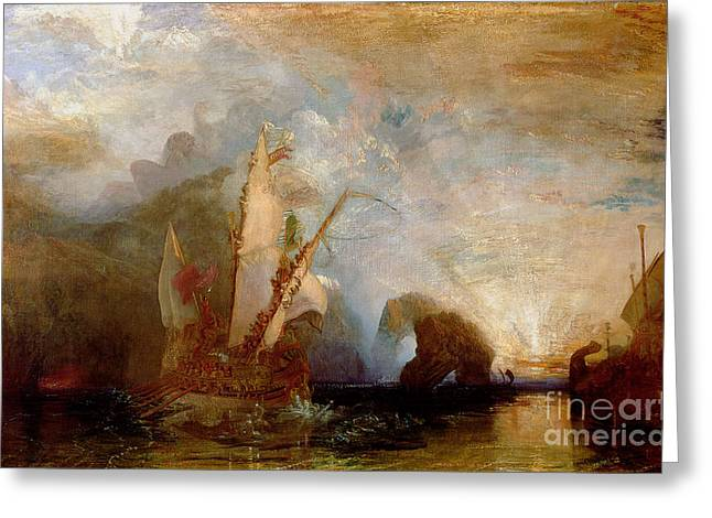Ships Detail Greeting Cards - Ulysses Deriding Polyphemus Greeting Card by Joseph Mallord William Turner