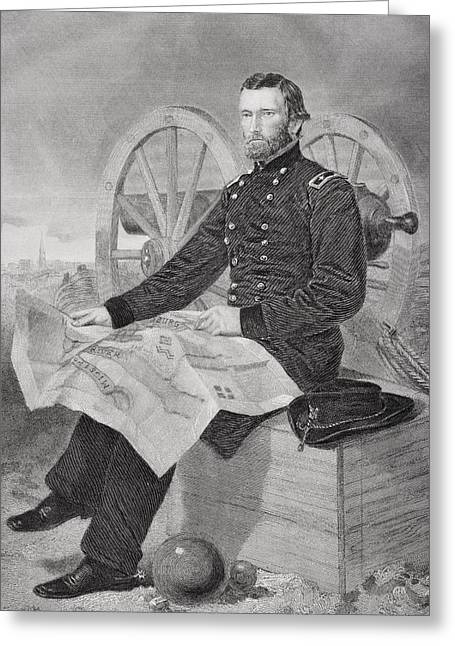 Fame Drawings Greeting Cards - Ulysses S. Grant 1822-1885. Commmander Greeting Card by Ken Welsh