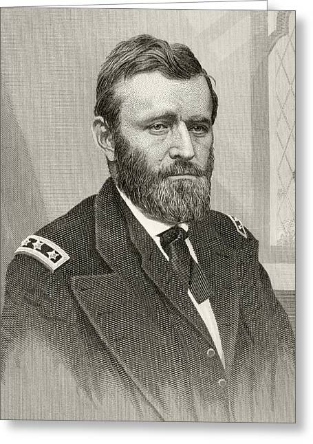 American President Drawings Greeting Cards - Ulysses S. Grant, 1822 To 1885. Union Greeting Card by Ken Welsh