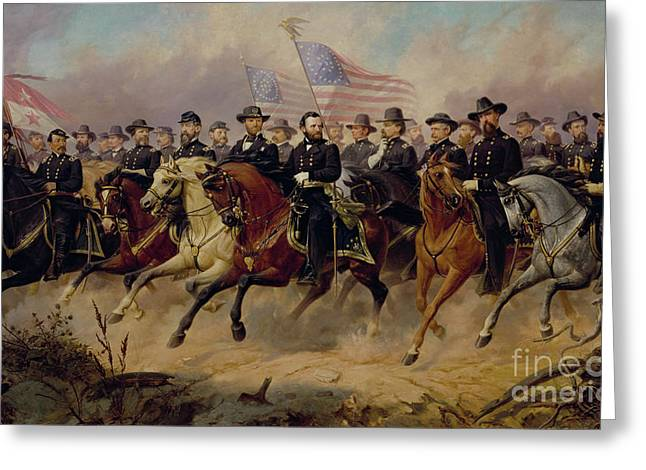 Ulysses S Grant And His Generals Greeting Card by Ole Peter Hansen Balling