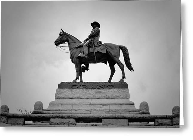 Statue Portrait Greeting Cards - Ulysses S Grant Memorial B n W Greeting Card by Richard Andrews