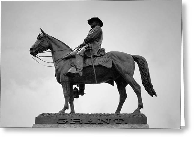 Statue Portrait Greeting Cards - Ulysses S Grant Memorial - Detail B n W Greeting Card by Richard Andrews