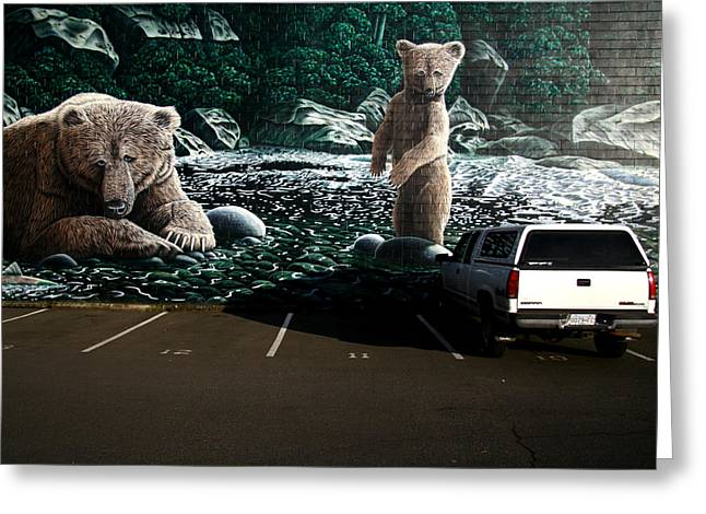 City Murals Greeting Cards - Um... Dad? Greeting Card by Kreddible Trout