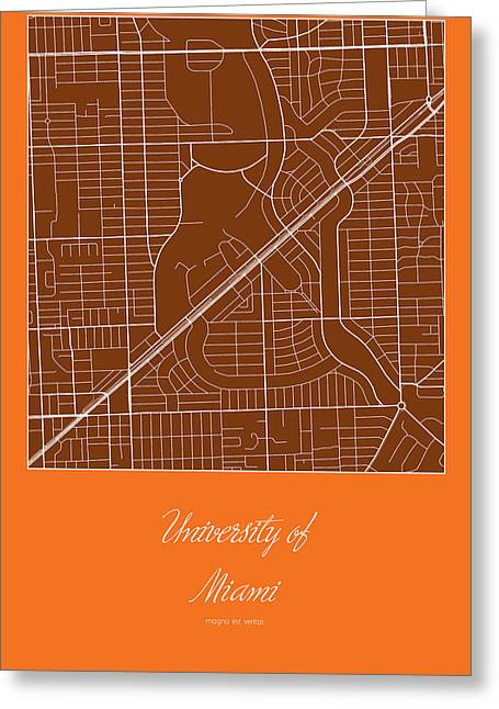 University Of Miami Greeting Cards - UM Street Map - University of Miami in Miami Map Greeting Card by Jurq Studio