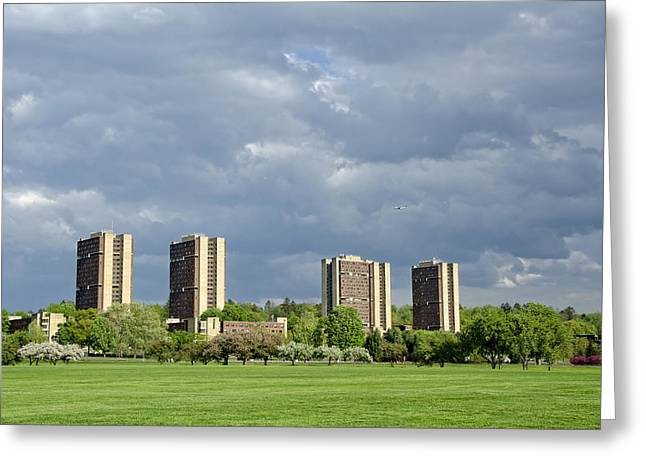 Umass Greeting Cards - UMass Southwest Towers Greeting Card by Donna Doherty