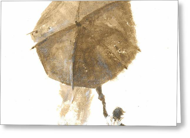 On The Beach Greeting Cards - Umbrella and Child One Greeting Card by Lincoln Seligman