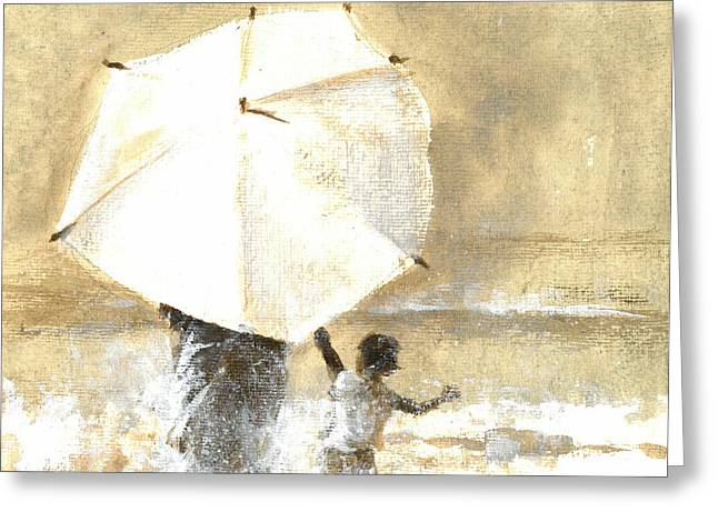 Walk On The Beach Greeting Cards - Umbrella and Child Two Greeting Card by Lincoln Seligman
