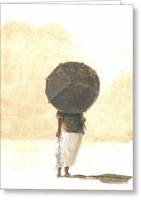 On The Beach Greeting Cards - Umbrella and Fish Two Greeting Card by Lincoln Seligman