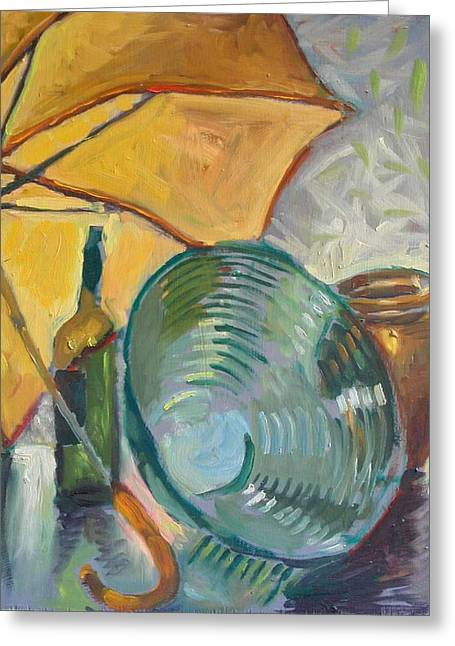 Interior Still Life Drawings Greeting Cards - Umbrella and the bottle Greeting Card by Piotr Antonow