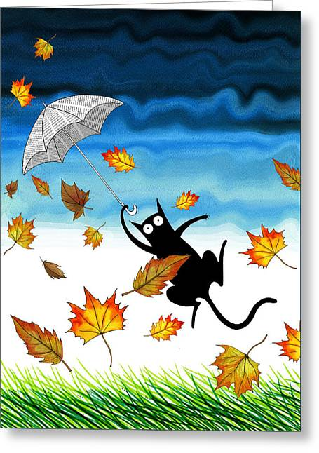 Umbrella Mixed Media Greeting Cards - Umbrella Greeting Card by Andrew Hitchen