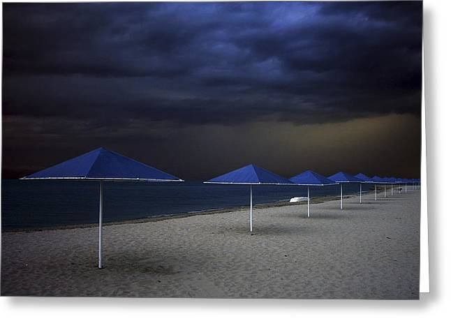 Umbrella Greeting Cards - Umbrella Blues Greeting Card by Aydin Aksoy