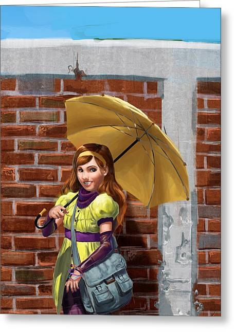 Wacom Tablet Greeting Cards - Umbrella Greeting Card by Diego Rodriguez