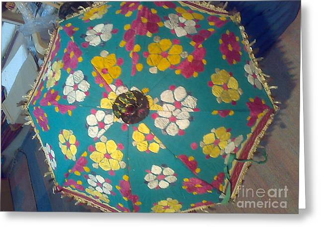 Umbrellas Tapestries - Textiles Greeting Cards - Umbrella Hand Work Greeting Card by Dinesh Rathi