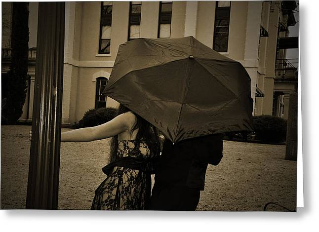 Angela Castillo Greeting Cards - Umbrella Love Greeting Card by Cherie Haines