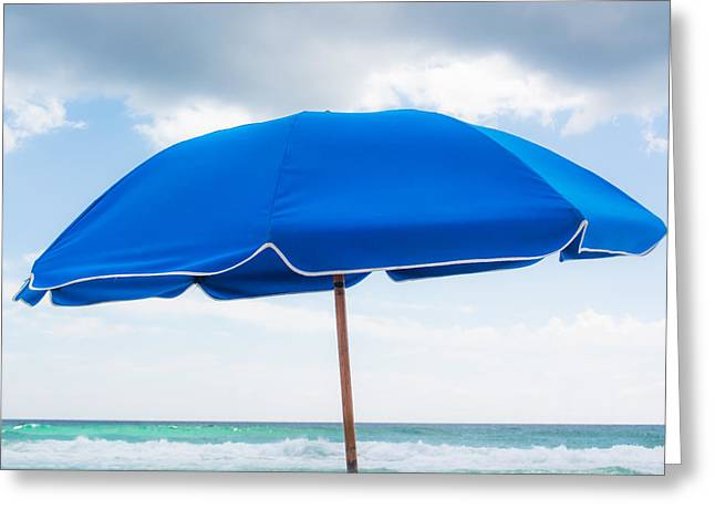 Sand Patterns Greeting Cards - Umbrella on the Beach Greeting Card by Shelby  Young