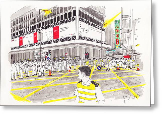 Occupy Drawings Greeting Cards - Umbrella Revolution 4 HK 2014 Greeting Card by Kathleen Wong