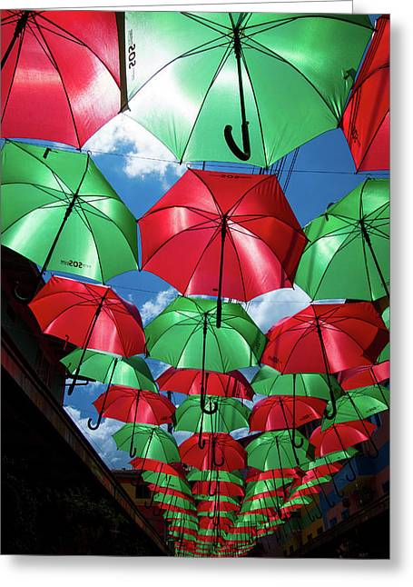 Umbrellas In Guatape Greeting Card by Riccardo Forte
