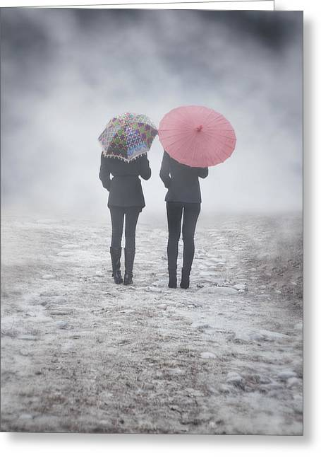 Female Friendship Greeting Cards - Umbrellas In The Mist Greeting Card by Joana Kruse