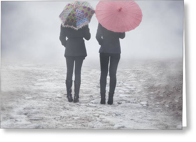 umbrellas in the mist Greeting Card by Joana Kruse