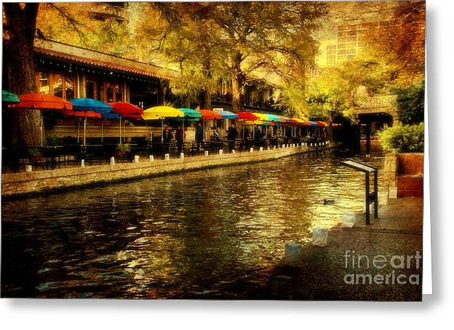 Riverwalk Photographs Greeting Cards - Umbrellas in the Riverwalk Greeting Card by Iris Greenwell