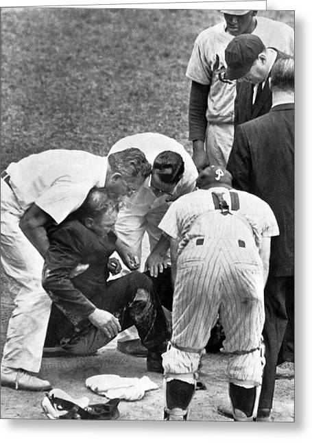 Umpire Down From Foul Tip Greeting Card by Underwood Archives