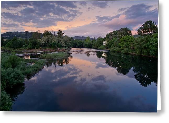 Umpqua River Greeting Cards - Umpqua River at Sunset Greeting Card by Greg Nyquist