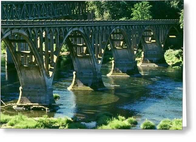 Umpqua River Greeting Cards - Umpqua River Bridge Greeting Card by Paul Michael Smith