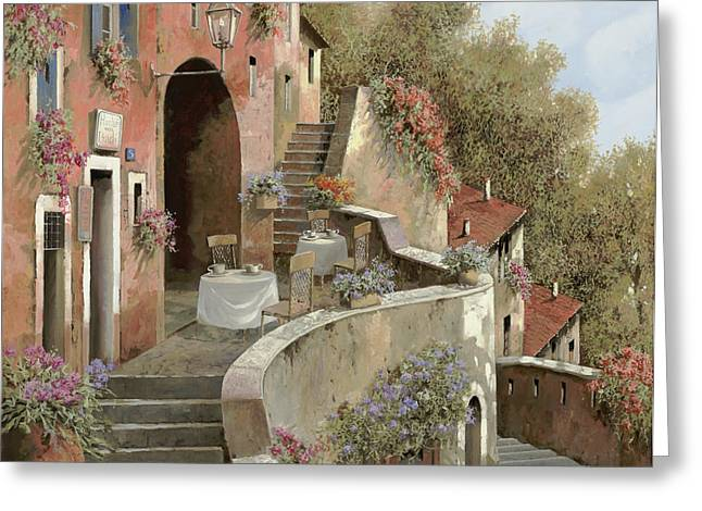 Un Caffe Al Fresco Sulla Salita Greeting Card by Guido Borelli
