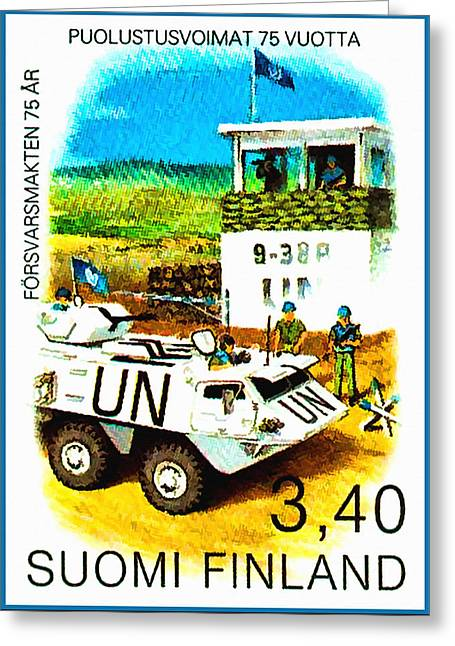 Tank Battalions Greeting Cards - UN Checkpoint of Finnish Battalion Greeting Card by Lanjee Chee