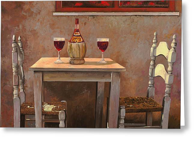 Wine Room Greeting Cards - un fiasco di Chianti Greeting Card by Guido Borelli