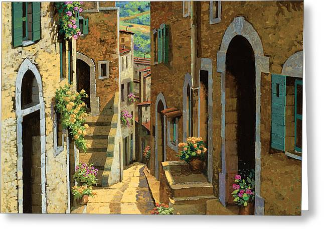 Noon Greeting Cards - Un Passaggio Tra Le Case Greeting Card by Guido Borelli