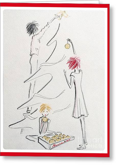 Reach Drawings Greeting Cards - Un Peu De Noel Greeting Card by Barbara Chase