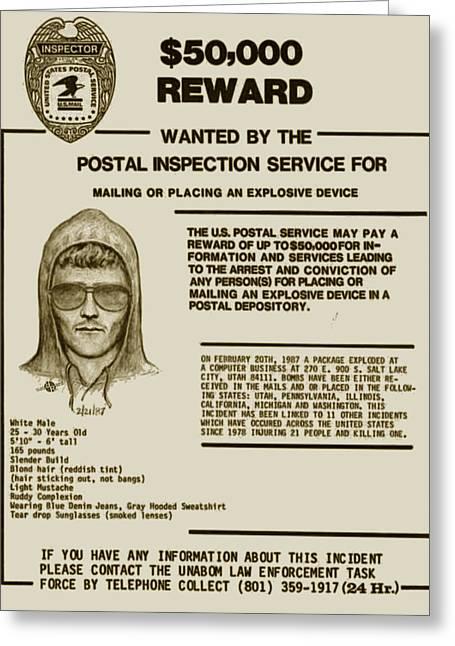 Unabomber Ted Kaczynski Wanted Poster 2 Greeting Card by Tony Rubino