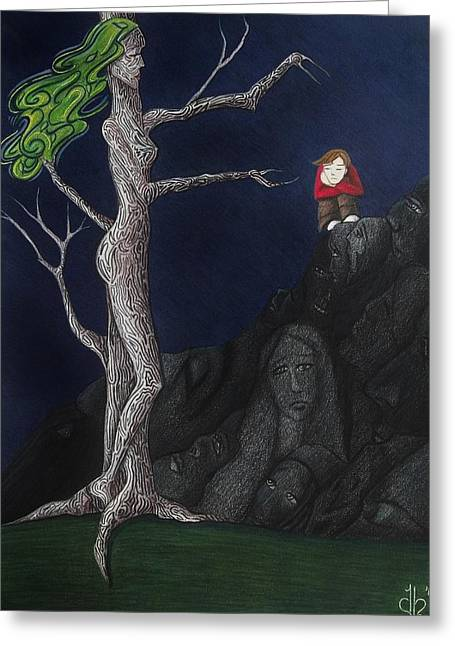 Reach Drawings Greeting Cards - Unalone Greeting Card by Danielle R T Haney