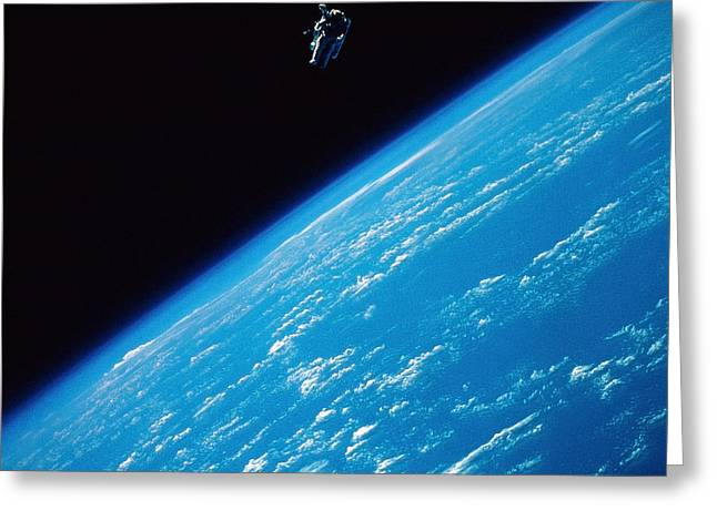 Terra Colors Greeting Cards - Unattached Space Walk Greeting Card by Stocktrek Images