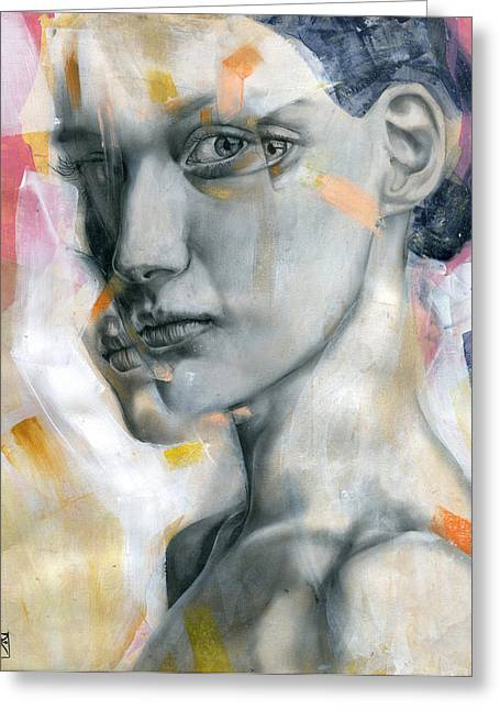 Female Faces Greeting Cards - Unbearable Lightness Greeting Card by Patricia Ariel