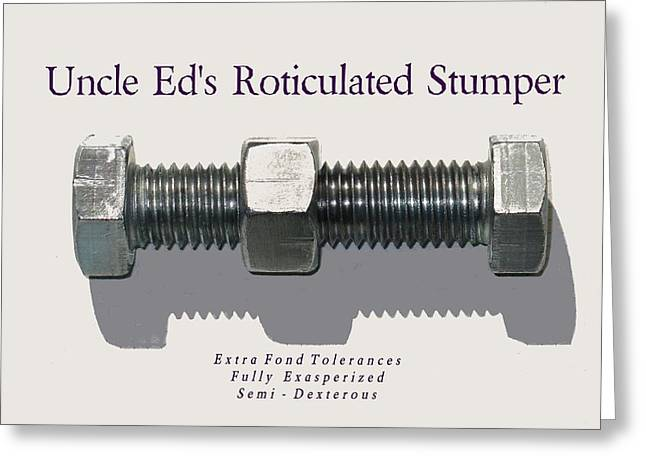 Hardware Tapestries - Textiles Greeting Cards - Uncle Ed - Newest Relief Greeting Card by Lin Grosvenor