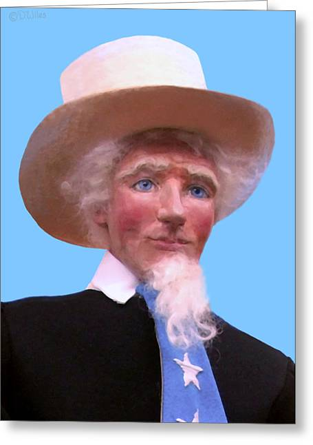 Cartoon Sculptures Greeting Cards - Uncle Sam 2 Greeting Card by David Wiles