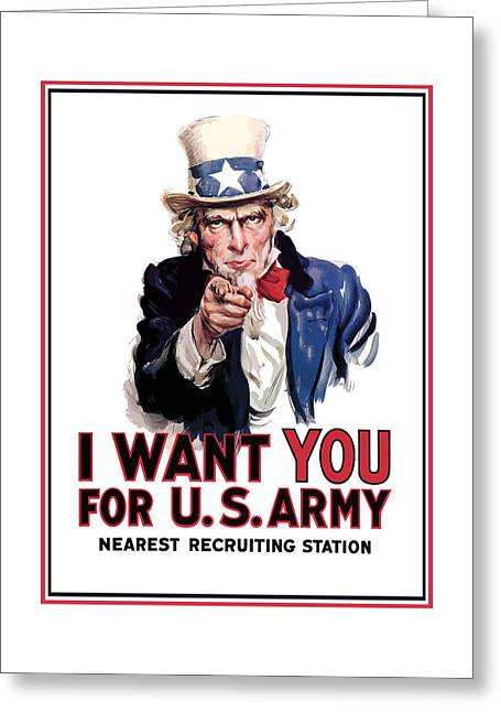 Landmarks Tapestries Textiles Greeting Cards - Uncle Sam -- I Want You Greeting Card by War Is Hell Store