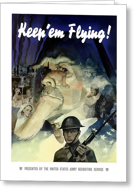 Uncle Sam Greeting Cards - Uncle Sam Keep Em Flying  Greeting Card by War Is Hell Store
