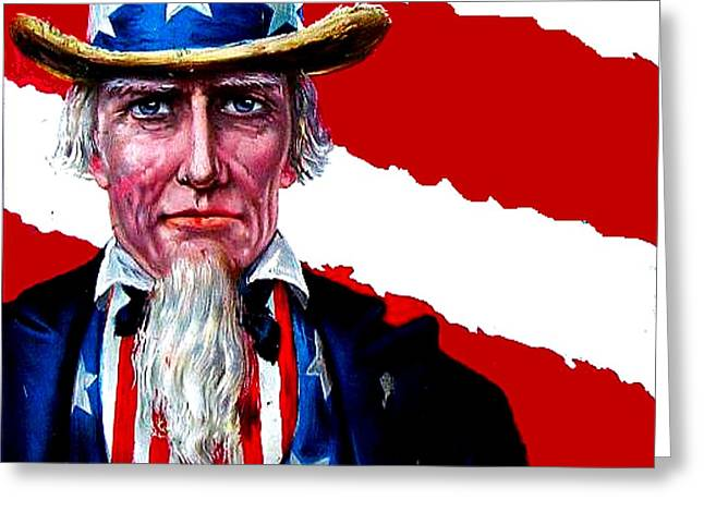 4th July Drawings Greeting Cards - Uncle Sam Greeting Card by Marianne Dow