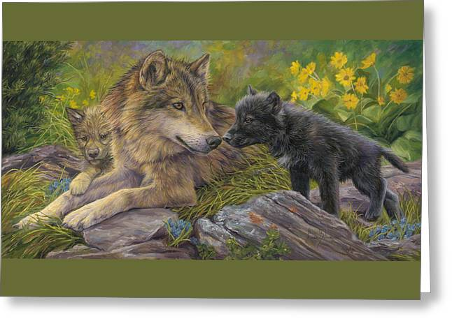 Wolves Greeting Cards - Unconditional Love Greeting Card by Lucie Bilodeau