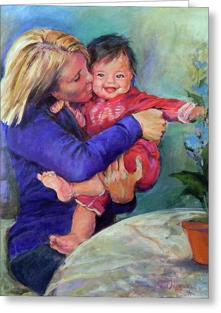 Outfit Paintings Greeting Cards - Unconditional Love Greeting Card by Patricia Maguire