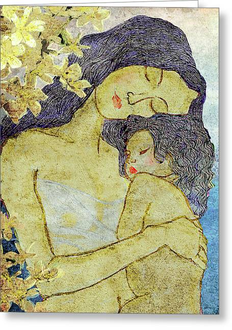 Child Care Mixed Media Greeting Cards - Unconditional love Greeting Card by Shakila Malavige