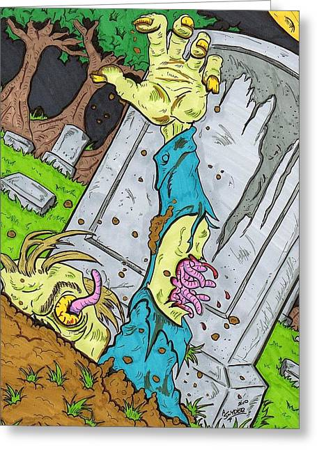 Tombstone Drawings Greeting Cards - Undead Greeting Card by Anthony Snyder
