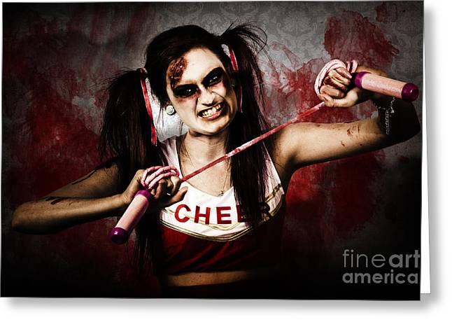 Cheerleader   Greeting Cards - Undead cheerleader causing destruction and chaos Greeting Card by Ryan Jorgensen