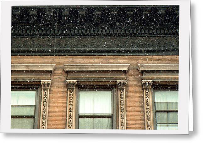 Snow Cornice Greeting Cards - Under a Tenement Cornice Greeting Card by Stan Magnan